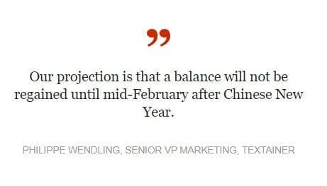 我们的预测是,直到农历新年后的2月中旬才能恢复平衡 TEXTAINER市场营销高级副总裁PHILIPPE WENDLING